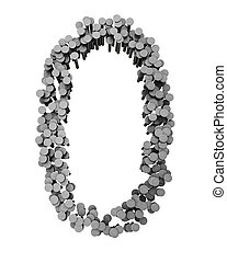 Alphabet made from hammered nails isolated, number 0 -...