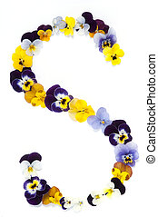 Alphabet made from pansy flowers, letter s