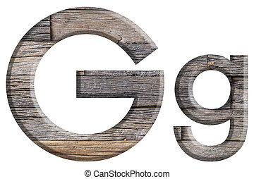 Alphabet made from wood, isolated on white background.