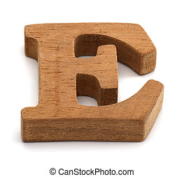 Alphabet made from wood on white