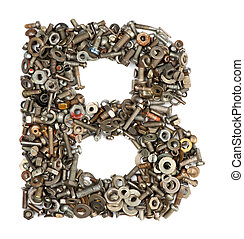 alphabet made of bolts - The letter b