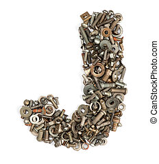 alphabet made of bolts - The letter j