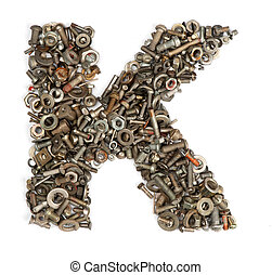 alphabet made of bolts - The letter k