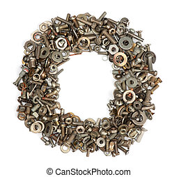 alphabet made of bolts - The letter o