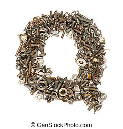alphabet made of bolts - The letter q
