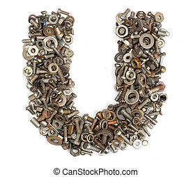 alphabet made of bolts - The letter u