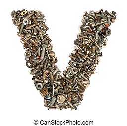 alphabet made of bolts - The letter v