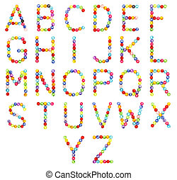 alphabet made of colorful beads isolated on white background