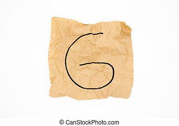 Alphabet made of crumpled paper.