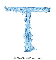 alphabet made of frozen water - the letter T
