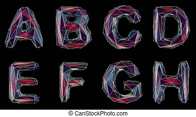 Alphabet made of low poly style isolated on black background...