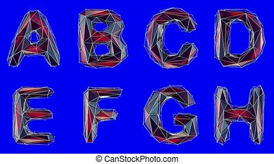 Alphabet made of low poly style isolated on blue background....