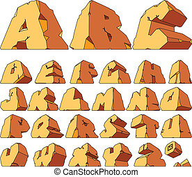 Alphabet made of stone: letters. Vector illustration.