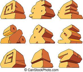 Alphabet made of stone: symbols @, $, Euro, %, &, Paragraph,...