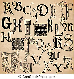 alphabet, -, main, élevé, vecteur, vendange, dessiné, ...