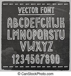 alphabet., mano, vector, pizarra, font., dibujado