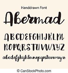 alphabet., mano, vettore, disegno, lettere, disegnato, calligrafia, tuo