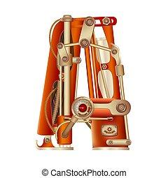 alphabet., meccanico, lettera