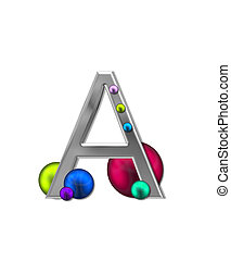 Alphabet Metal Marbles A - The letter A, in the alphabet set...