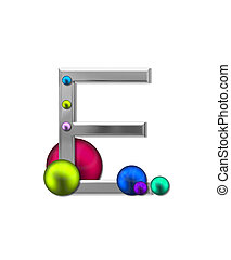 Alphabet Metal Marbles E - The letter E, in the alphabet set...