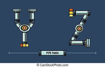 Alphabet Metal pipes style in a set YZ fonts comic vector