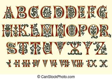 alphabet, mittelalterlich, und, römische ziffer