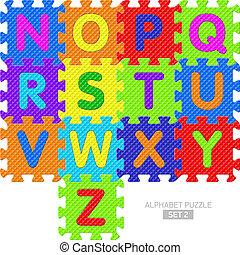 alphabet, morceaux puzzle