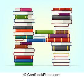 alphabet, multi, livres, coloré, piles
