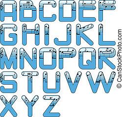 alphabet music glossy blue