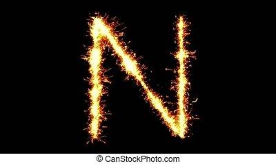 Alphabet N Text Sparkler Glitter Sparks Firework Loop ...