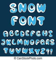 alphabet, noël, neige
