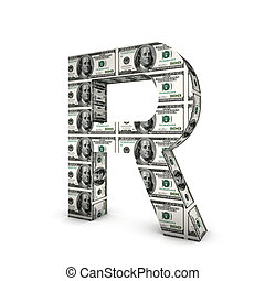 alphabet, note, dollar, isolé, r, white., lettre