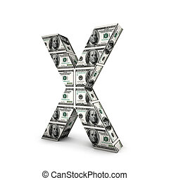 alphabet, note, dollar, isolé, white., lettre x