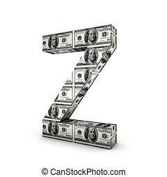 alphabet, note, dollar, isolé, white., lettre, z