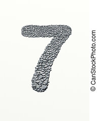 alphabet , number 7 with stone background