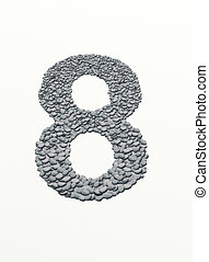 alphabet , number 8 with stone background