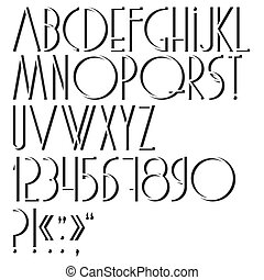 Alphabet, numbers and punctuation marks. Vector set