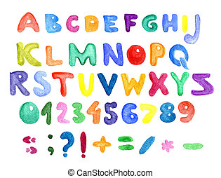 alphabet, numbers and punctuation, watercolor