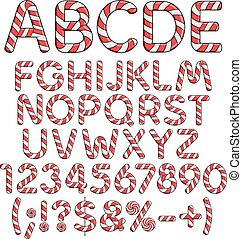 Alphabet, numbers and signs from red candies. Isolated colored vector objects.