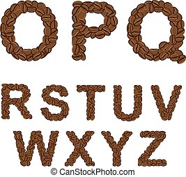 Alphabet of coffee from O to Z. Isolated objects