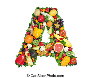 Alphabet of Health - Letter A made of fresh fruits and...