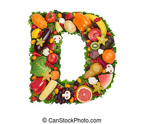 Alphabet of Health - Letter D made of fresh fruits and...