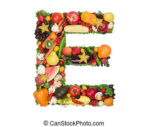 Letter made of fresh fruits and vegetables isolated on white.