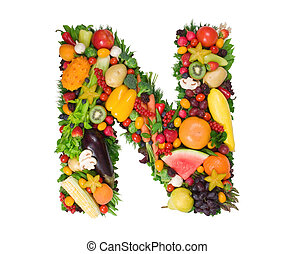 Letter N made of fresh fruits and vegetables isolated on white