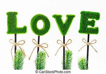 Alphabet of love in artificial tree.