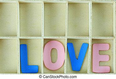 alphabet of LOVE in wooden box.