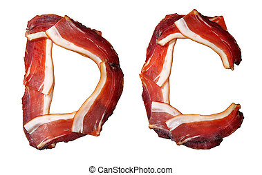 alphabet of prosciutto ham