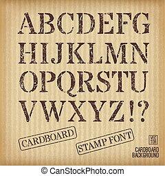 Alphabet old stamp style on cardboard background.