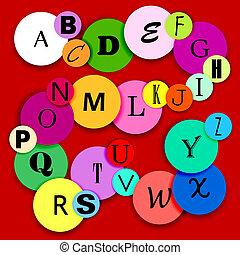 Alphabet on multicolor circles-2