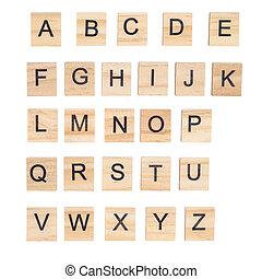Alphabet on wood ,white background